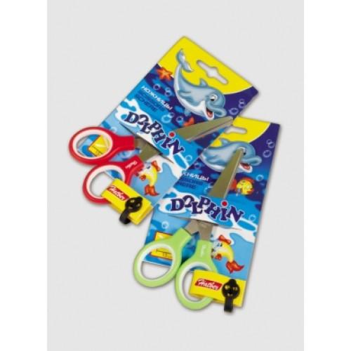 S7103 Ножницы детские 13см нерж. сталь с резинов. вставками Hatber -Dolphin- в инд.упак.с европодве
