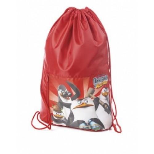 Мешок для сменной обуви Hatber 34х45см с карманом на молнии 2 отделения-Пингвины из Мадаг NMn_20273