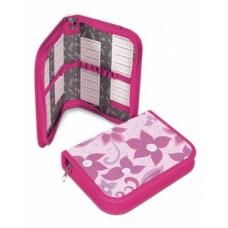 Пенал Hatber 190х130мм ткань 1 отделение на молнии Стразы-Розовые лепестки-Npn_03434
