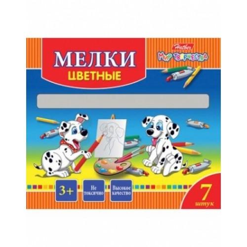 KMn_07530 Мелки Hatber 7 цветов-Далматинцы- в картонной коробке