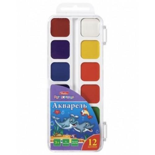Краски Акварель медовые полусухие 12 цв. Hatber-Дельфины- без кисти в пластиковом пенале KKa_12010