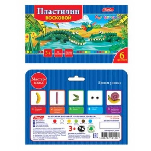 Пластилин Восковой 6 цв. 90гр Hatber со стеком-Забавные зверята-   в карт.короб. KPv_06260