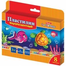 Пластилин Восковой флуоресцентный  8 цв.120г Hatber со стеком- Морская семейка- с европ KPf_08210