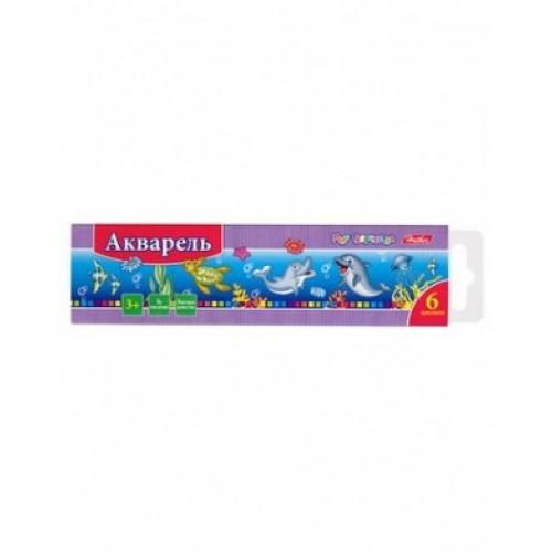 Краски Акварель медовые полусухие 6 цв. Hatber-Дельфины- без кисти в картонном пенале KKa_06020
