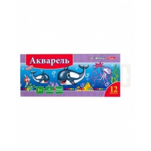 Краски Акварель медовые полусухие 12 цв. Hatber-Дельфины- без кисти в картонном пенале KKa_12020