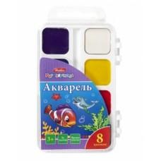 Краски Акварель медовые полусухие 8 цв. Hatber-Дельфины- без кисти в пластиковом пенале KKa_08010