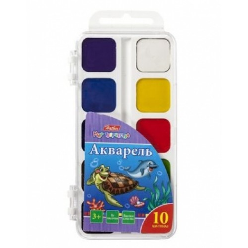 Краски Акварель медовые полусухие 10 цв. Hatber-Дельфины- без кисти в пластиковом пенале KKa_10010