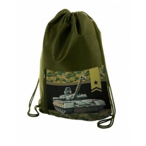 Мешок для сменной обуви Hatber с карманом на молнии 2 отделения-Танк-NMn_20648