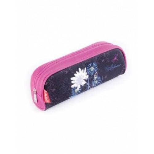 Пенал Hatber мягкий на молнии-Flower on black-Npk_01695