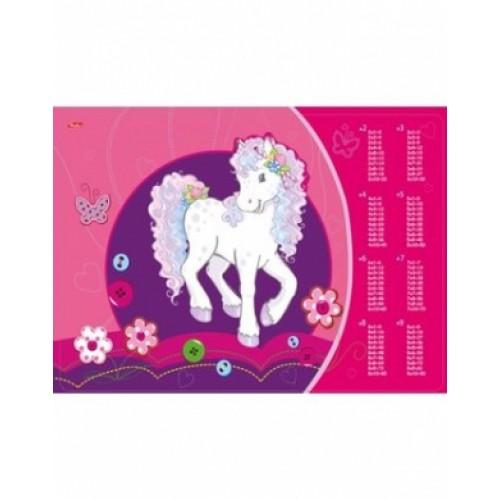 Подложка Пластиковая Универсальная А3ф Hatber-Кудрявая лошадка- с таблицей умножения Пп3_14053