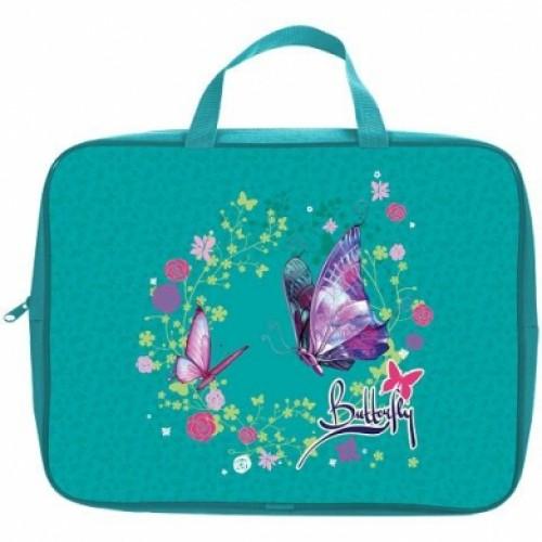 Сумка Текстильная с РУЧКАМИ Hatber А4ф для тетрадей ширина 7см -Butterfly-NSn_42015