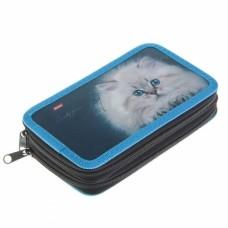 Пенал Hatber 190х110мм 2 отделения на молнии-Любимая кошка-NPn_22066
