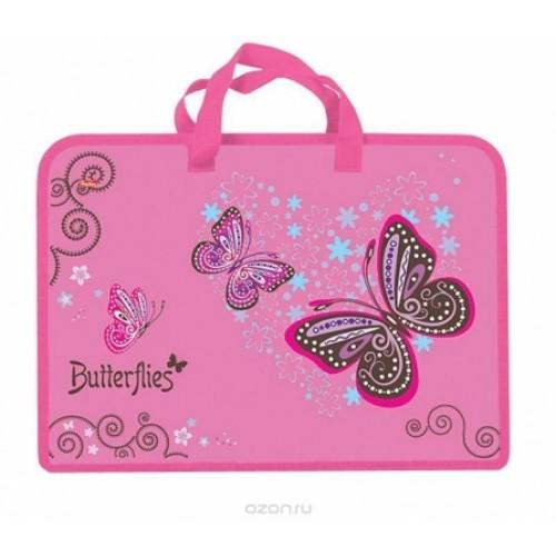 AMn_43005 Папка для тетрадей Пластиковая А4ф Hatber 1 отделение с РУЧКАМИ на молнии-Butterfly-   в