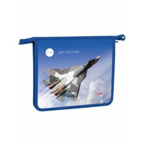 AMc_52043 Папка для тетрадей Пластиковая А5ф Hatber 2 отделения на молнии -Истребитель-   в индив.у