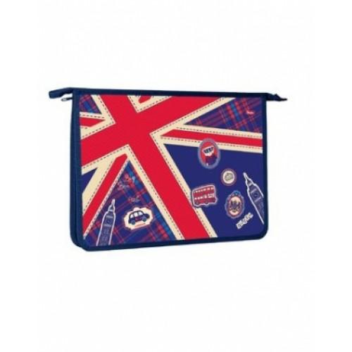 AMc_41055 Папка для тетрадей Пластиковая А4ф Hatber 1 отделение на молнии-Британский флаг-   в инди