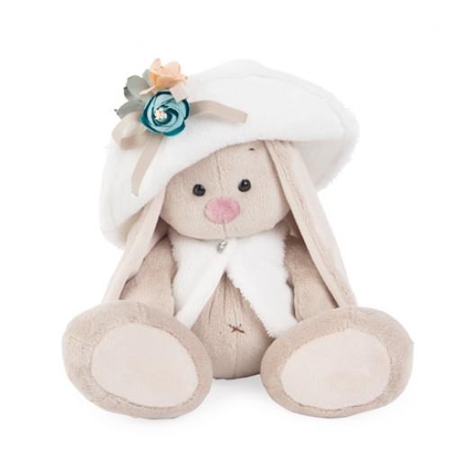 Игрушка  Зайка Ми в белой меховой шляпе и жилете  (большой) SidM-159