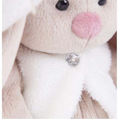 Игрушка  Зайка Ми в белой меховой шляпе и жилете  (малый) SidS-159