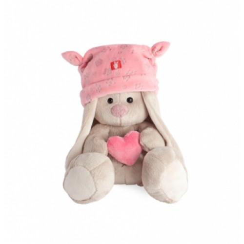 """Игрушка  """"Зайка Ми"""" в розовой шапке с сердечком (малыш) SidXt-075"""