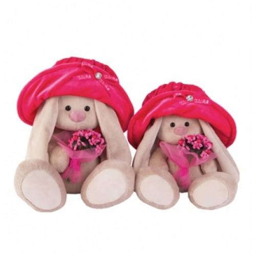 """Игрушка  """"Зайка Ми"""" в бархатной шляпе  с букетиком  (малая) SidS-142"""