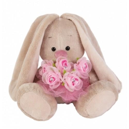 Игрушка  Зайка Ми  с букетом роз в сеточке (малыш) SidX - 140