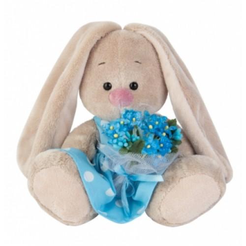 Игрушка  Зайка Ми  в голубом платье с букетом незабудок(малыш) SidX - 141