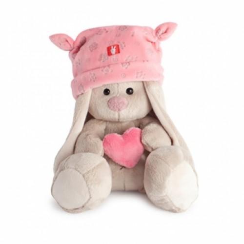 """Игрушка  """"Зайка Ми"""" в розовой шапке с сердечком (малыш) SidX-075"""