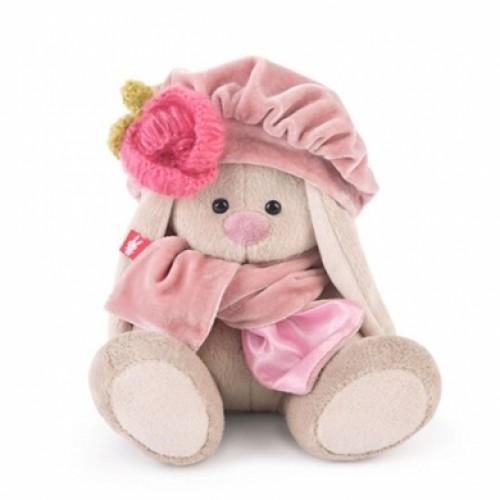 Игрушка  Зайка Ми в берете с вязаным цветком (малыш) SidX-193