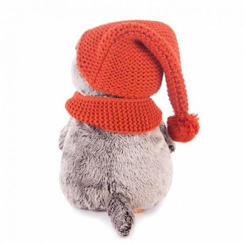 Игрушка  Басик в вязаной  шапке и шарфе Ks19-075