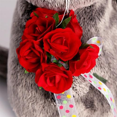 Игрушка  Басик с букетом красных роз Ks22-080