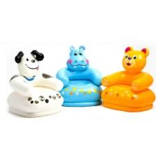 Кресло надувное «Веселые звери», 65х64х74 см, от 3 до 8 лет, цвета МИКС 68556NP INTEX
