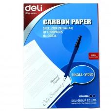 Копировальная бумага А4 100 лист,синяя, DELI 39834