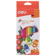 Карандаши цветные 12цв Color Emotion 3-х гранные DELI С00200