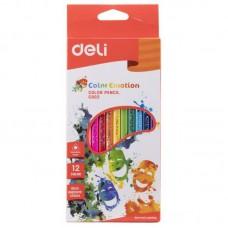 Карандаши цветные 12цв 3х гарнные пластиковые (восковые) DELI С20000 Color Emotion