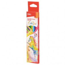 Карандаши цветные 6 цв 3-х гранные в тубе DELI EC00360