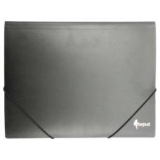 Папка с резинкой А4 черная пластик FO21441