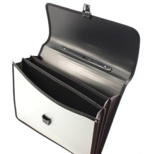 Папка-портфель А4 серебро FO21631