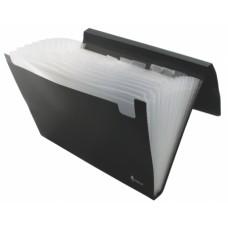 Папка-картотека FORPUS, А4, пластик, 12 отделений, на резинках, черная FO21641