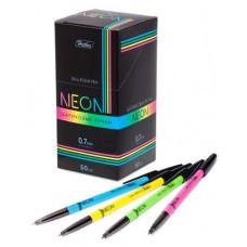 Ручка  HATBER шариковая NEON синяя, 0,7мм с колпачком и клипом 7CB_50072