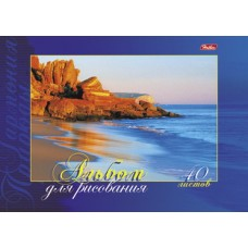 Альбом для рисования 40л ф.А4 отрывная склейка жестская подложка выб.лак- Гармония прир.