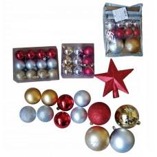Набор Ассорти золотое, серебряное, красное из пластика (набор 34 шт) арт.78770