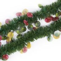 Новогодняя мишура Зелёная с ёлочными шарами из полиэтилена / 2M*8см арт.78842