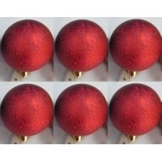 """Шар """"Зима"""" красный из полистирола. Набор из 6 шт. / 6см арт.76010"""