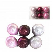 Набор шаров Ассорти розовое, фуксия, жемчужное из пластика, размер 6 см/6 шт) арт.78777