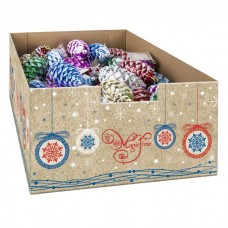 Шишки новогодние разноцветные из пластика арт.79172