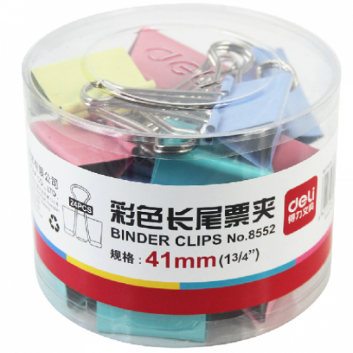 Зажим цветной 41мм (24 шт,) в пласт. уп. Е8552А