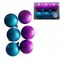 Набор шаров Ассорти голубое, фуксия из пластика, размер 6 см/6шт) арт.78795