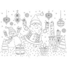 Настольный защитный коврик-раскраска Дедушка Мороз и снеговик арт.78056