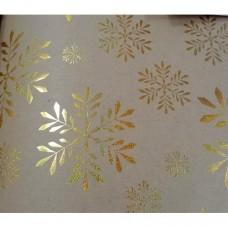"Крафт бумага ""Золотые снежинки"" в листах 100х70 см, пл.60 г/м2, арт.79486"