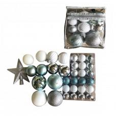 Набор Ассорти зеленое, серебряное из пластика (набор 34 шт) арт.78771