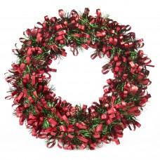 Новогодний венок Красно-Зелёлный из полиэтилена / 28см арт.78826